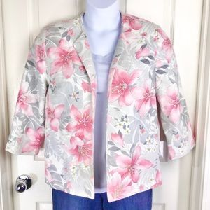 Alfred Dunner Floral Open Front Blazer 8 Pink Gray